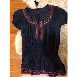 Embroidered navy top red tassel tunic top M